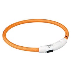 Flash lysring USB, M-L: 45 cm/ø 7 mm, orange